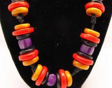 Colier colorat - Tribal Necklace Clay Beads -  Colier modelat din argila polimerica