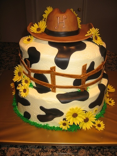 Cow Print cake it even has an H on it! :)