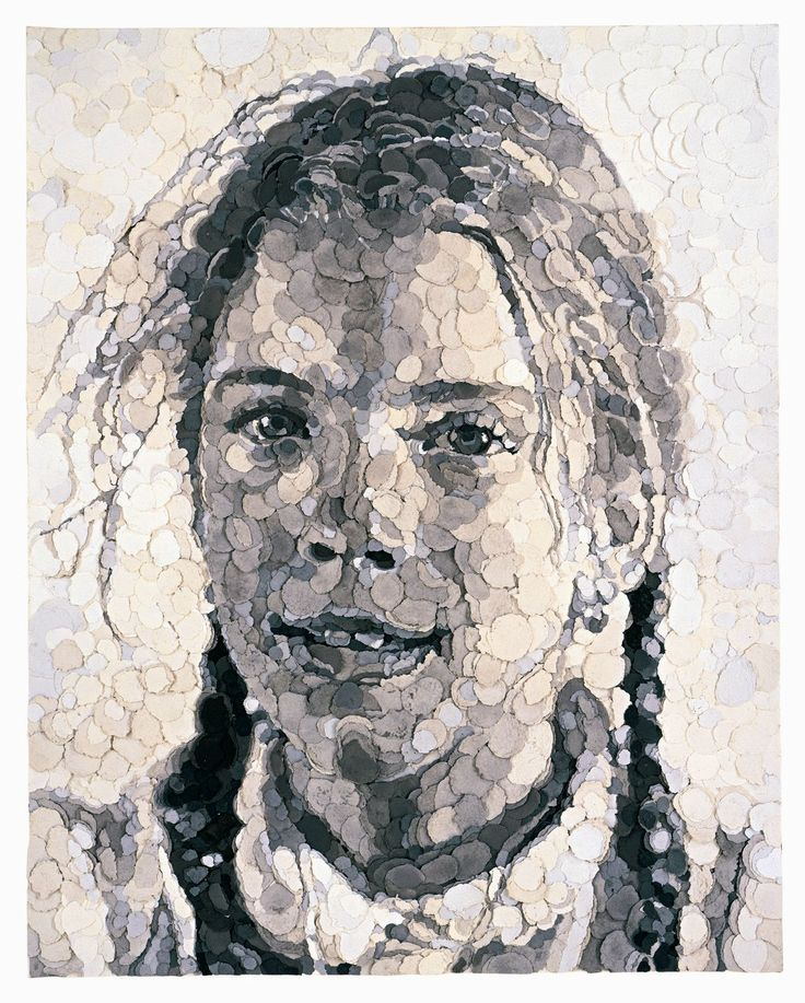 Georgia, by Chuck Close Interesting use of tonal scale in grey paper to create a careful transition of light and dark.
