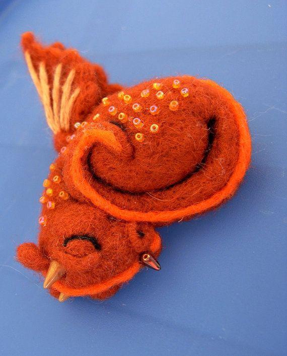 felt dragon bookmark | Baby Sleeping Dragon - miniature art figurine - needle felted and ...