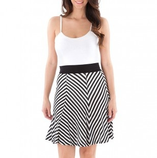 Solid to Stripe Skirt Dress