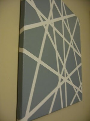 DIY art - tape on canvas stripes Make each section a different color to make it prettier :)