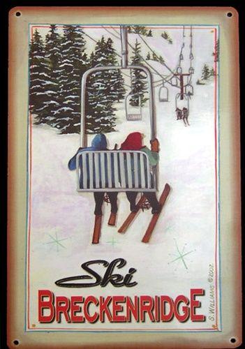 "Vintage Vail Ski Decor   Ski BRECKENRIDGE"" Colorado Vintage Chairlift Metal Sign"