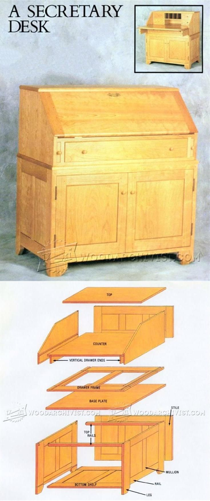 DIY Secretary Desk - Furniture Plans and Projects | //for kitchn 'command cntr' //WoodArchivist.com