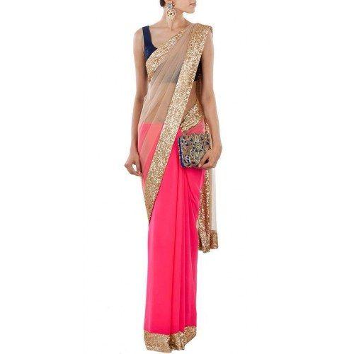 pink and beige saree