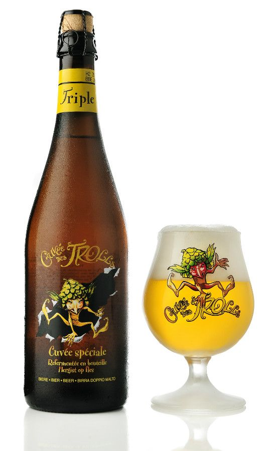 Cuvée des Trolls Triple, Dubuisson. This unfiltered blonde beer is warmly cloudy by nature. It has a full-mouthed mildness married to a fresh taste, with fruity, citrus-perfumed aromas, owing to the use of dried orange peel. As a triple, the Cuvée des Trolls Triple is classed as a heavy, top-fermented beer, that has been re-fermented in the bottle.  That extra ferment helps bring an edge to its subtly bitter and fruity flavourings, as well as adding a little more punch to its carbonation…