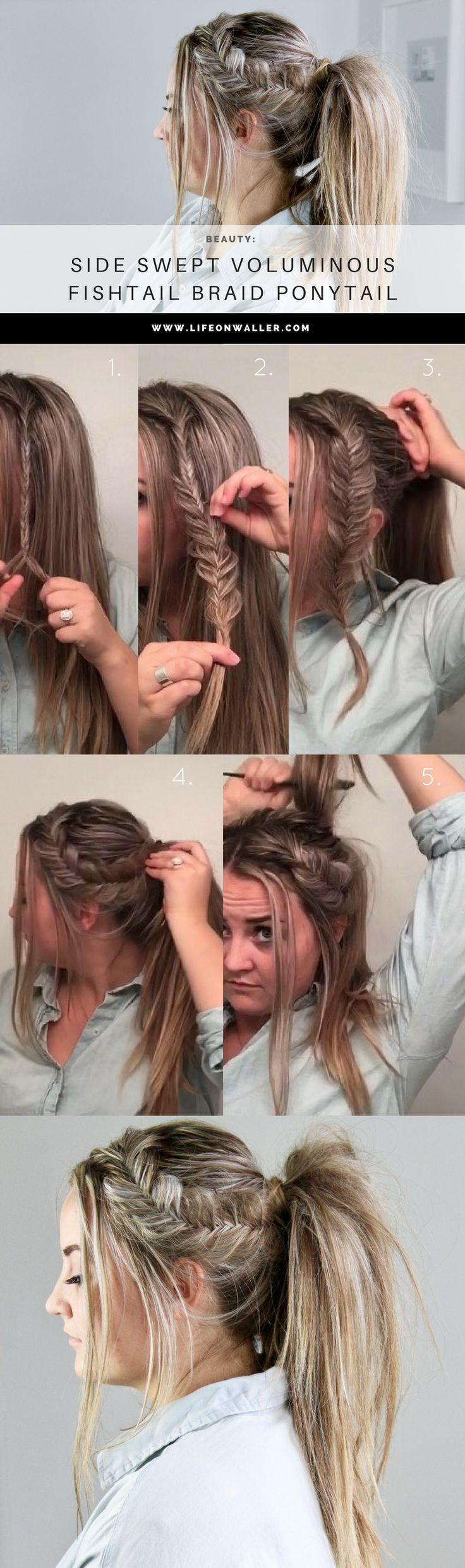 fishtail ponytail, side swept voluminous fishtail braid ponytail tutorial. big ponytail, hair, hairstyle, braids, gym hair, casual hair, easy hairstyle, hairstyles, how to, braiding, date hairstyles.