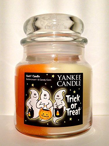 Yankee Candle TRICK OR TREAT Swirl Candle - Buttercream and Candy Corn scents--13 oz medium housewarmer jar candle - New ghost trio label for Halloween 2015 Yankee Candle http://www.amazon.com/dp/B014CCJ0JI/ref=cm_sw_r_pi_dp_zysTwb1QD89S3