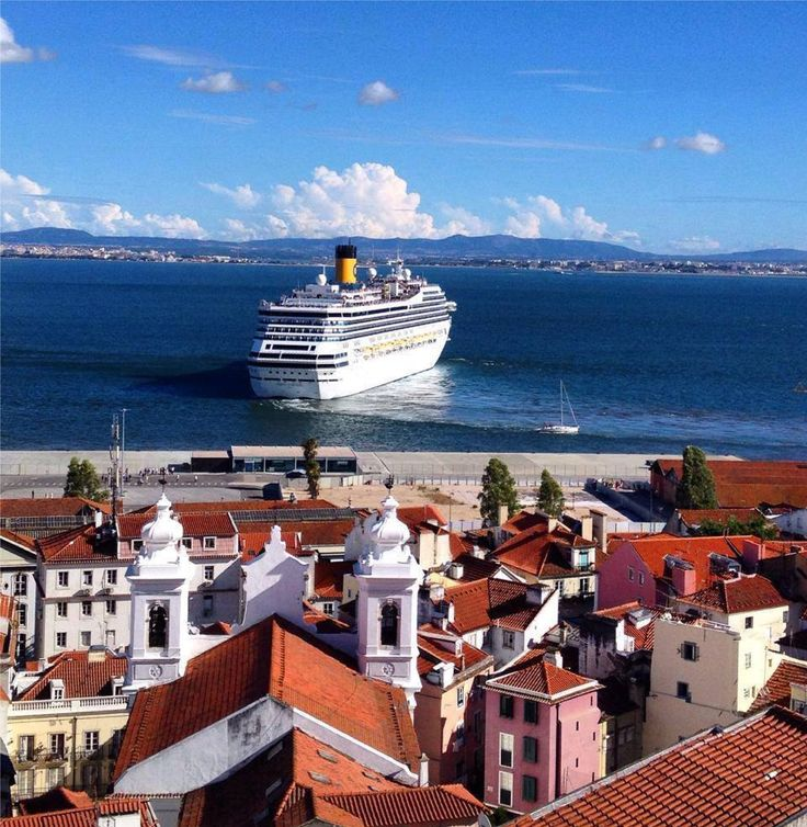 Lisbon, Alfama and the river   By vintage lamps