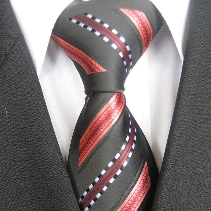 Dark grey, coral, gold groom | YIBEI Men's ties Border Black With Coral Red / White Stripes Necktie ...
