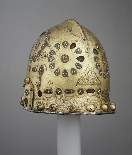 Parade Helmet in Hispano-Moresque Style, late 15th–early 16th century Spanish Steel, gold, silver, cloisonné enamel  This helmet is traditionally thought to have belonged to Abu cAbd Allah Muhammad, known in the West as Boabdil, the last Nasrid king of Granada (r. 1482–83, 1487–92). If so, it is the only known example of armor to have survived from the Nasrid period in Spain (1238–1492).