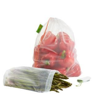Reusable Mesh Produce Bags: Stock up on these fine mesh bags, which make it easy to scan at checkout and rinse your food when you get home. These reusable sacks are easy to store and can save up to 150 plastic bags each year.