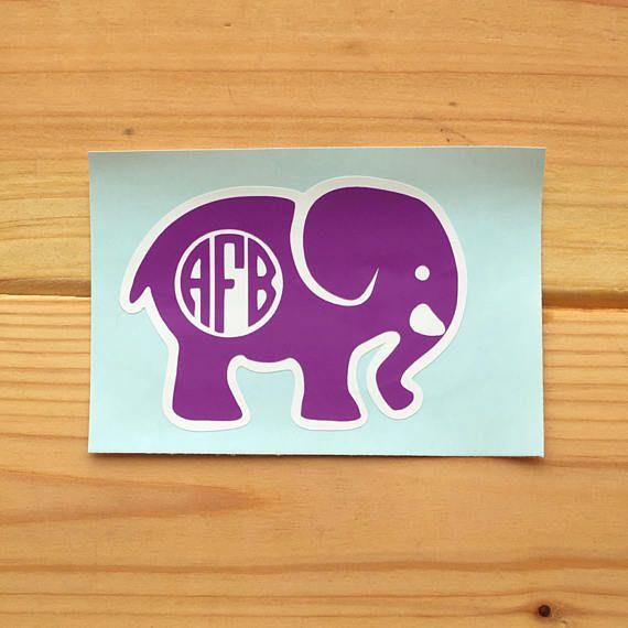 Elephant Monogram Decal Monogram Laptop Decal Monogram