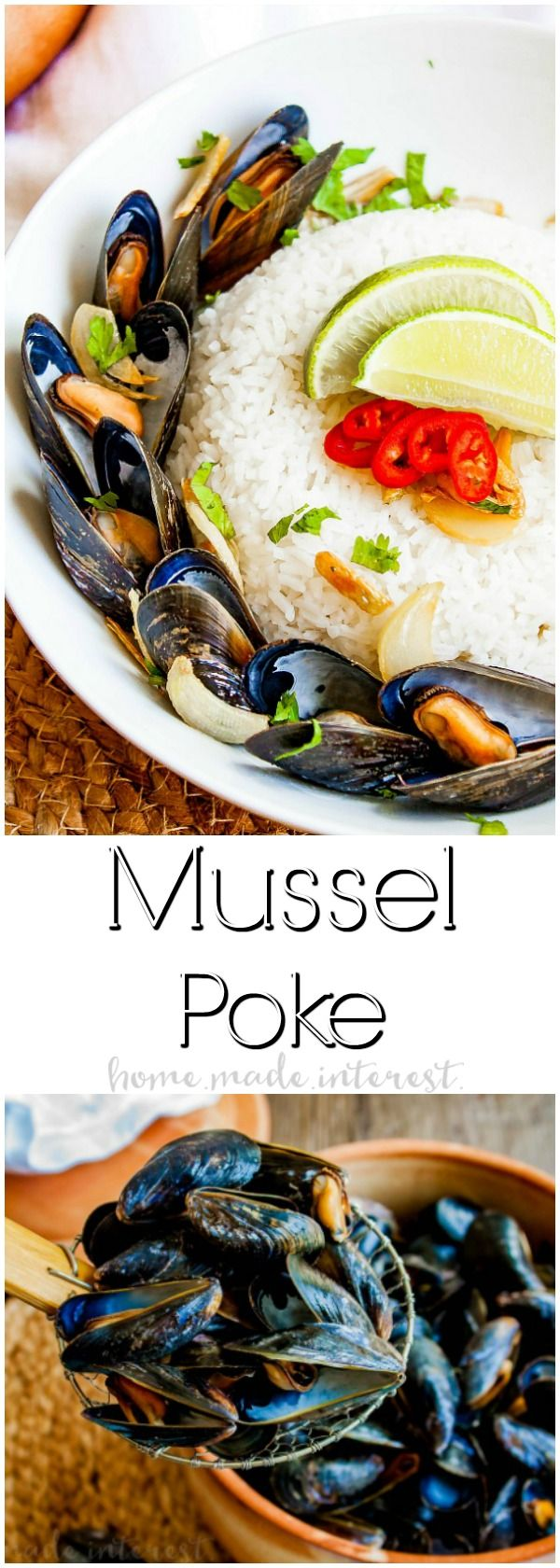 Mussel Poke | This easy mussels recipe is perfect as a mussels appetizer or a complete meal. Mussel Poke combines Thai-inspired flavors and delicately steamed mussels into a delicious mussels recipes bursting with flavor.  This is an easy seafood recipe served with rice that you will love. #PEIMusselsOnTheMenu #ad