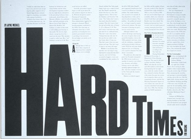 """I like that """"HARDTIMES"""" draws your from left to right, the same way that you read. I do think it is kind of bland because the typeface used for """"HARDTIMES"""" is large dark and bold with not anything really special about it aside from the directions and sizing. To make it more interesting, I think the main text should be adjusted in color or typeface  so it stands out more"""