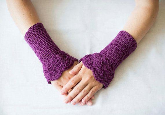 Crochet purple mittens fingerless gloves handmade by RamuneCrochet, $15.00