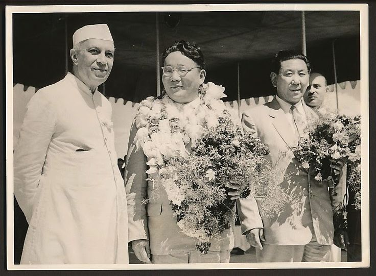 Prime Minister Mr. Yumjaagiin Tsedenbal of the People's Republic of Mongolia with Indian Prime Minister Jawaharlal Nehru - 1959.