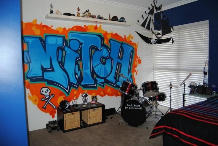 Graffiti teenage boys room