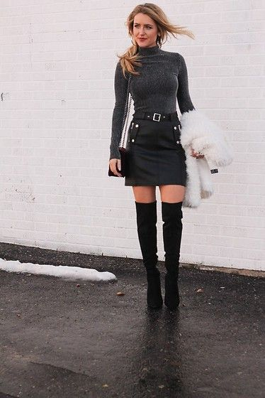 Get this look: http://lb.nu/look/8566265  More looks by Amber Wilkerson: http://lb.nu/ambernicole2  Items in this look:  Bcbg Top, Topshop Skirt, Guess Boots, Asos Jackets   #chic #ootd #leather #skirt #trending #streetchic