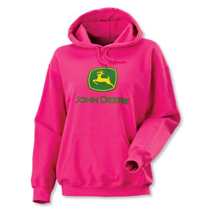 Ladies John Deere Logo Hoodie (Bright Pink) - JD05807