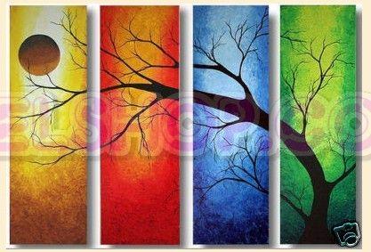 4 quadri dipinti a mano stagioni