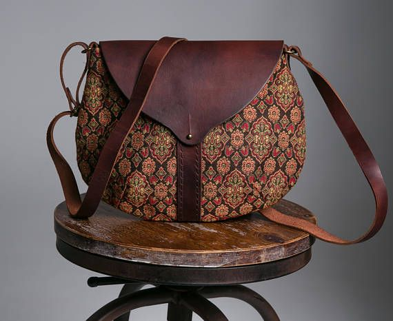 tapestry bag Leather bagBrown leather tote bag leather bag