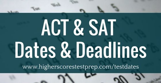 Find all upcoming ACT and SAT test dates and deadlines in one place! Plus, there's a handy, downloadable PDF for reference. Neato! :)