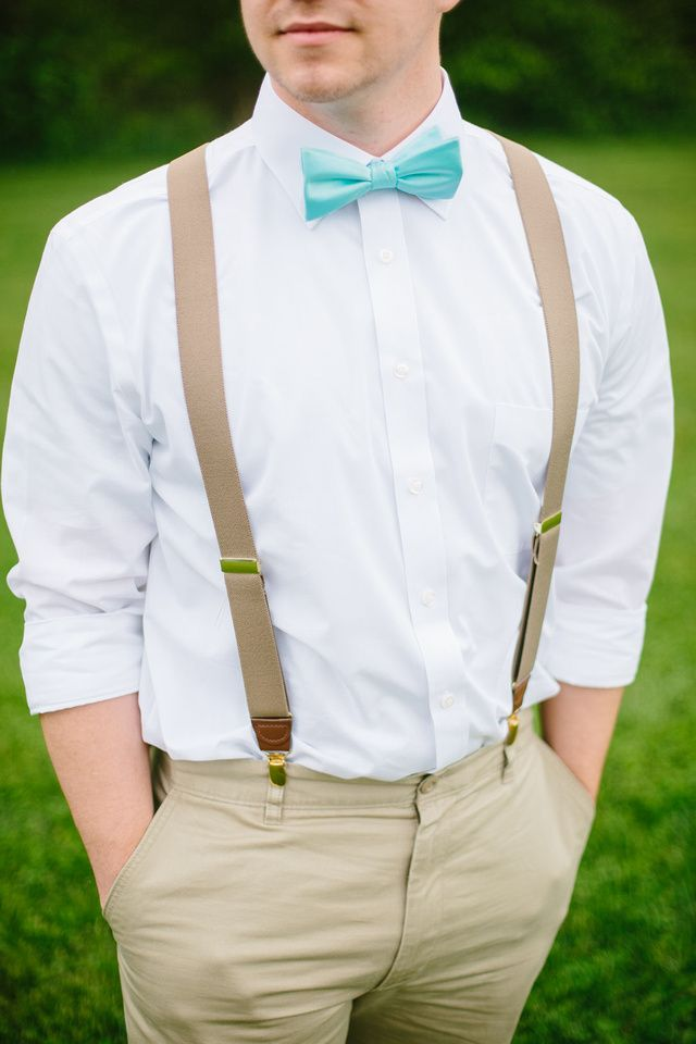 Mint & Coral Summer Outdoor Wedding. Mint Bow Ties for Groomsmen