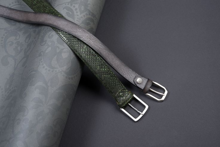 Buckles & Belts - Belt/Gürtel - New Autumn Collection 2016 - Pitone - Torean - Nubuk & Phyton Leather - metal brush antracite - silver grey - verde - green - Design in SWITZERLAND made in ITALY https://www.facebook.com/BucklesBelts
