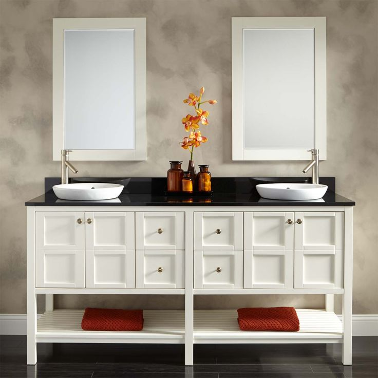 Pics Of  Bowman Vanity for Semi Recessed Sink White Double Sink Vanities