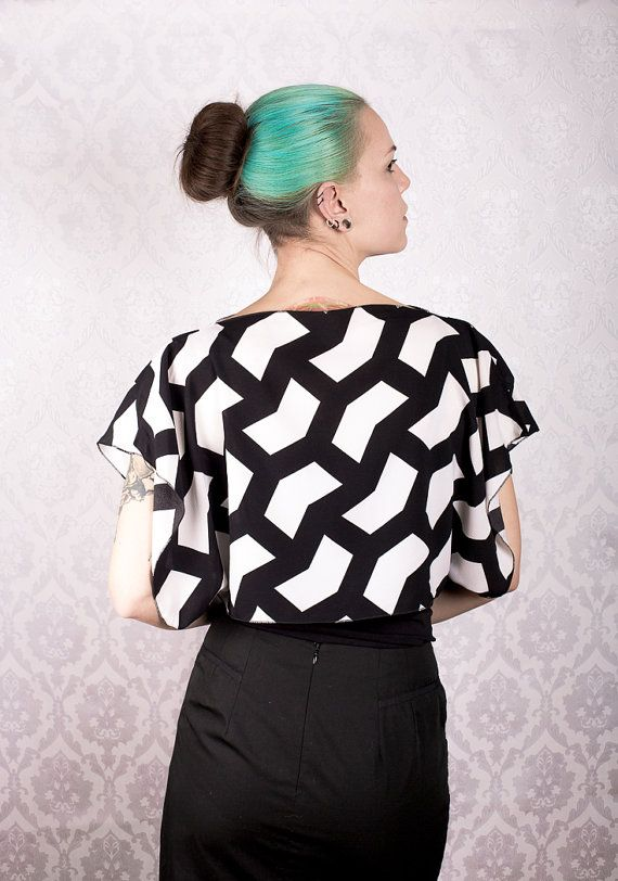 Black and white pattern Kimono box top by KitsuneCoutureFI on Etsy