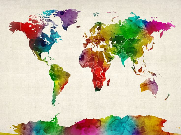 16 best mapa images on pinterest world maps worldmap and bedrooms world map watercolor would be a cool tattoo but different colors gumiabroncs Images