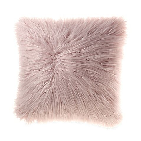 Mongolian Faux Fur Throw Pillow in Cream ? new room Pinterest Faux fur, Throw pillows and Pink