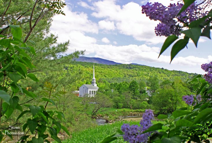 Vermont Wallpaper Fall May Looking Towards Stowe Village With Lilacs In The