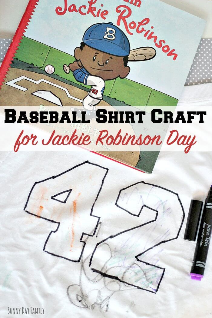 "Celebrate Jackie Robinson day with your own personalized ""42"" shirt! Kids will love to make their own shirts with this easy baseball craft. Includes a free printable stencil!"
