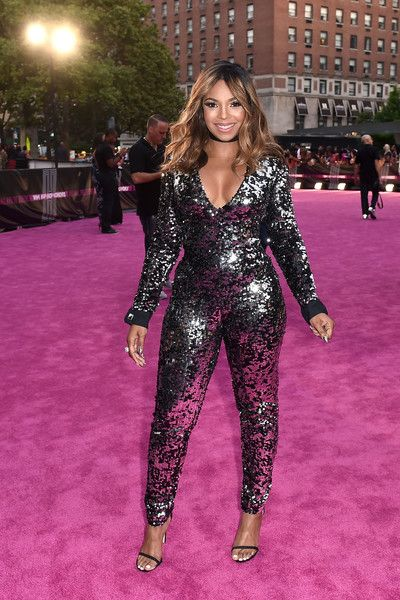 Ashanti Jumpsuit - Ashanti slayed in a low-cut, sequined jumpsuit at the VH1 Hip Hop Honors.