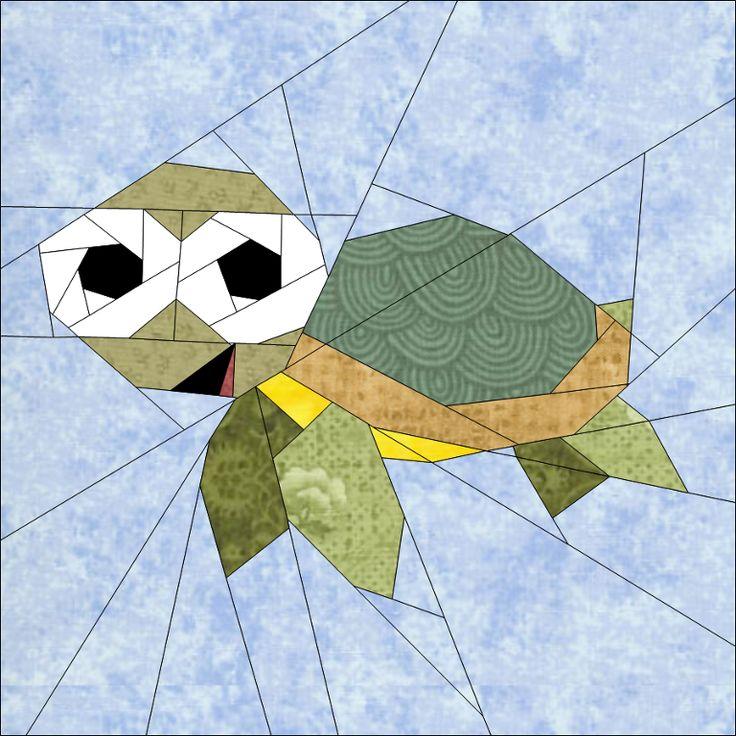 "Turtle 10"" (25cm) paper pieced block quiltartdesigns.blogspot.com"