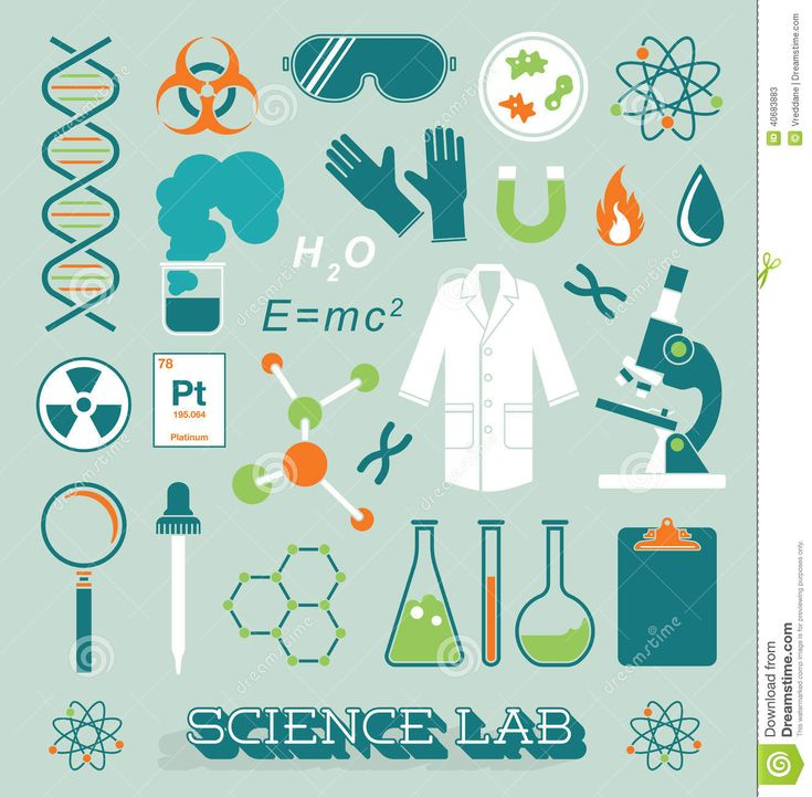 Education Background With Laboratory Vector Vector Art: Vector Set: Science Lab Icons And Objects