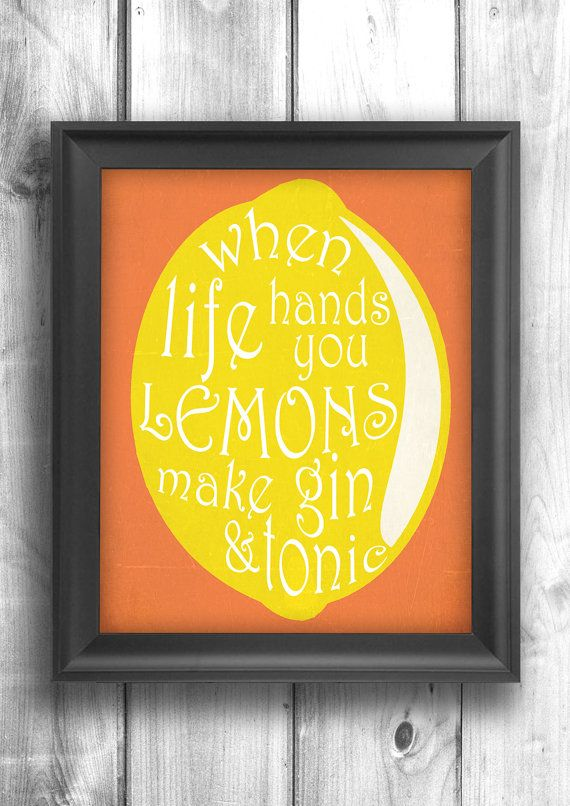 Gin and Tonic typography print bar decor by HappyLetterShop