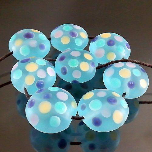 PIKALDA Handmade Lampwork 8 Glass Beads Colorful Dot Aqua Dot 2 SRA | eBay