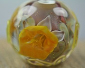 Large Round Encased Daffodils Lampwork Glass Focal Bead SRA Izzybeads