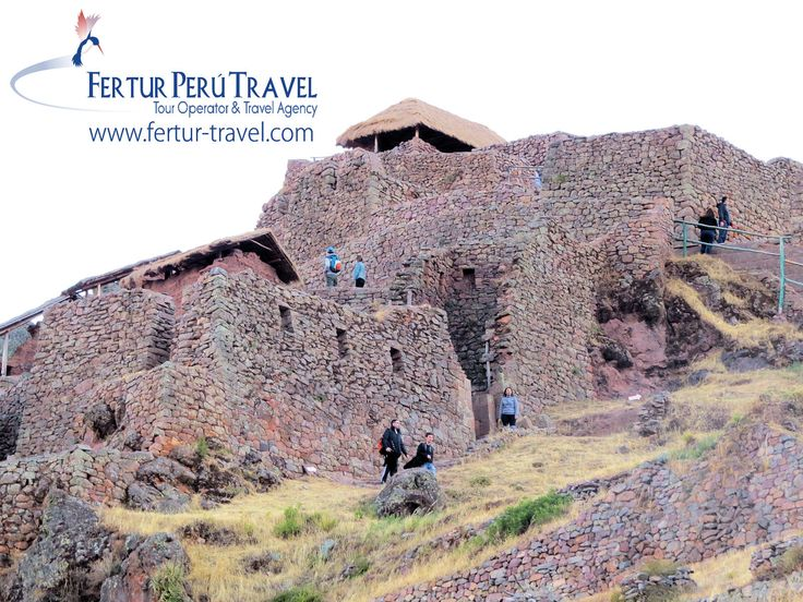 The temple fortress of Pisaq. The 9th Inca emperor Pachacutec had his engineers build the complex, spectacularly wrapped around the mountain ridge and perched atop the high spur.