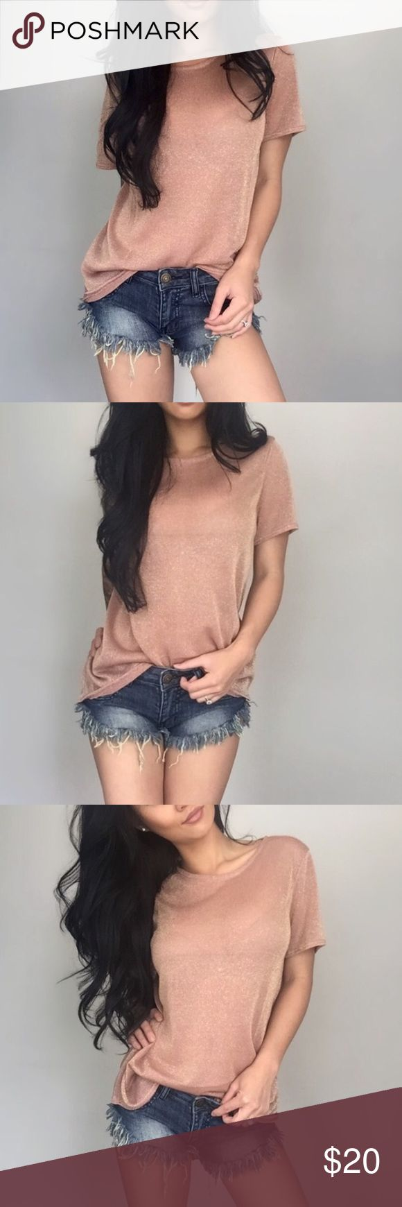 Rose Gold Sparkle Tee Size L As seen in @itselaine closet- this tee is anything but simple/plain. Very light material! Dress up or down! I recommend a nude bra underneath unless you want to show it off! Meant to be looser on the body.. boutique Tops Tees - Short Sleeve