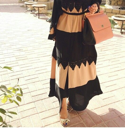 // black lace and blush abaya.