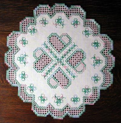 Meadow Morning Hardanger Doily by Cindy Valentine Designs