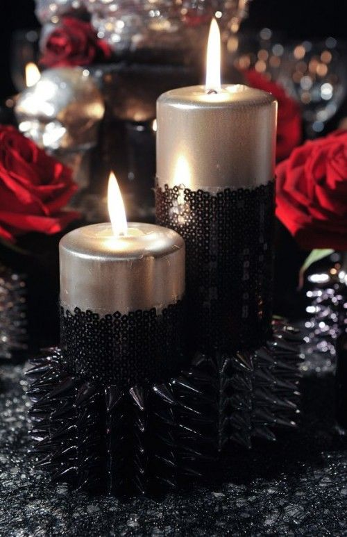 Amusing Elegant Gothic Wedding Centerpieces With Red Flowers