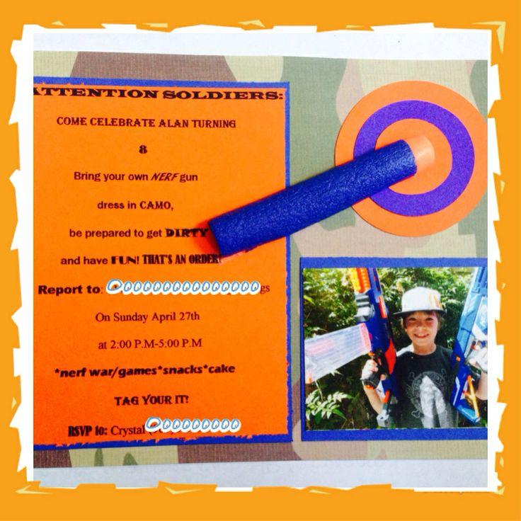 Nerf gun party invitation Nerf party Pinterest Nerf Party