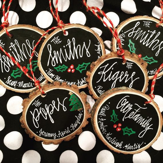 Wood Slice Chalkboard Ornament Personalized Hand by YouAlphabetcha