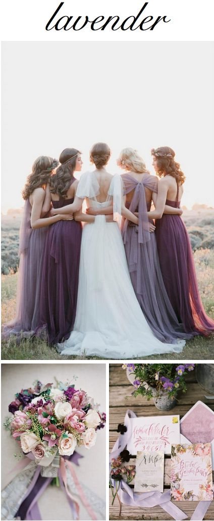 Lavender lovelies: Bridesmaid Dresses: This Modern Romance // Bouquet: Alicia Jayne Florals // Invitation Suite: Wild Field Paper Co.