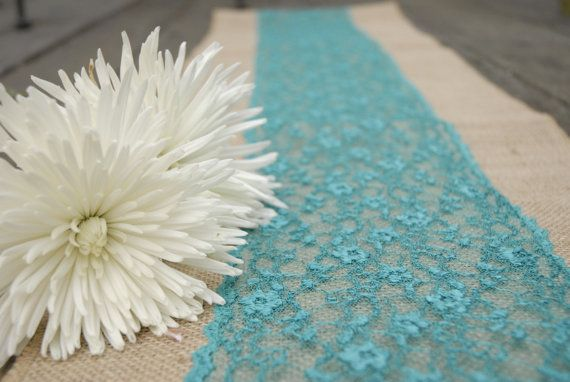 Turquoise Teal Tiffany Blue Peacock Lace on Natural by Jessmy